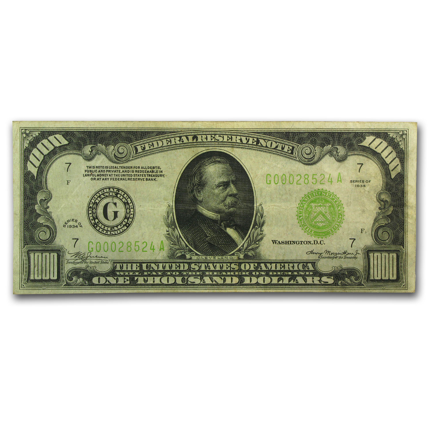 1934 (G-Chicago) $1,000 FRN (Very Fine + ) Light Green Seal